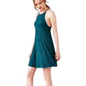 Silence and Noise Ribbed Swing Dress in Green